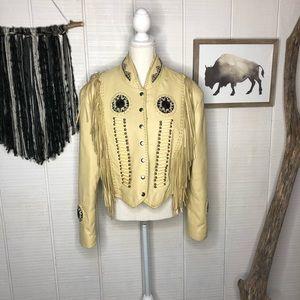 Vintage Leather boho jacket with fringe and beads